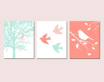Coral Nursery Art Coral and Mint Nursery Decor Prints - Set of 3 Birds and Trees - Girl Nursery Wall Art - CHOOSE YOUR COLORS