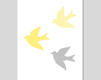 Baby Birds Nursery Art Birds Nursery Decor Print - CHOOSE YOUR COLORS - Shown in Gray, Yellow, Pink, Blue and More