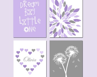 Purple Nursery Decor Girl Nursery Art Harper Nursery - Dream Big Little One, Abstract Floral, Hearts Name, Dandelions - Set of 4 Prints