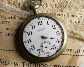 Vintage Pocket Watch -Ingersoll Reliance- Non-Working- Dollar Watch- White Face with Black Numbers