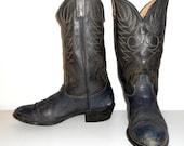 Mens 12 D Cowboy Boots Distressed Acme Dark Blue Grey Black Vintage Shoes Punk Rocker