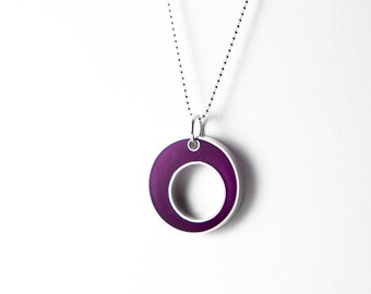 Control Necklace - sterling silver, magenta/purple resin --circle holiday gift