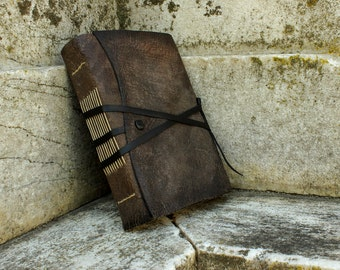 Dark Grey Leather Journal, Antiqued Leather with Cracks, Stained Pages