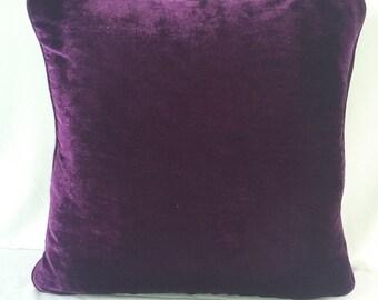 Purple Velvet cushion cover with pippin. Velvet pillow. Velvet pillow.  Soft pillow. Luxury home decor. Custom made 18inch