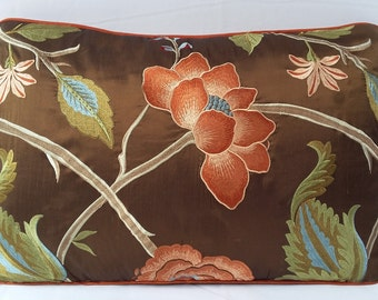 Brown dupioni silk floral pillow. Brown piping corded with orange floral embroidery Pillow cover. Luxury row silk cushion cover 14x22 inch