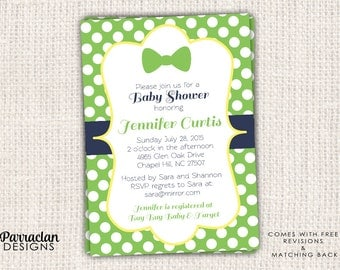 Bow Tie Baby Shower Invitation, Little Man Invitation, printable, digital file, BS2