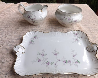 FREE SHIPPING RARE vintage cream and sugar set with tray numbered (Vault 9)