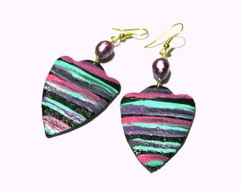 Colorful Hand Painted Chandelier Earrings  Big Statement Earrings Leather Earrings Gifts for Women Bohemian Jewelry