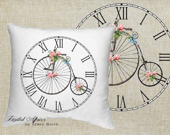Digital Download Livingroom Collection Vintage Chic Clock Rose Bicycle Black White Image 4 Papercrafts, Transfer, Pillows, Totes, Etc va031