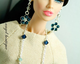 """Delicate Long Necklace Links with Swarovski Crystal fits 12 and 16"""" dolls. Set Completes with Matching Earrings."""