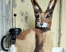 Felted French Press Cosy, French Coffee Pot warmer, Felt Coffee Pot Cover felt Rabbit cozy french press cosy Vintage rabbit