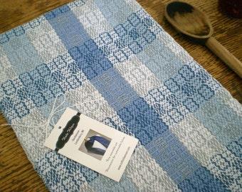 Seashore blues checked kitchen tea towel