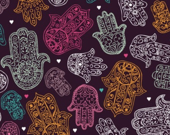 Hamsa Hand Of Fatima Moroccan Arabic Ornament Pattern Fabric By Little Smile Makers - Hamsa Hand Fabric with Spoonflower - by the yard