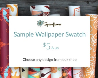 1 Sample Wallpaper Swatch - 24x12 inch Wallpaper Test Swatch - Repositionable Temporary Peel and Stick Wallpaper with Spoonflower