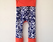 Size One Grow with Me Pants- Doodle Birds, Blue with Tangerine solid