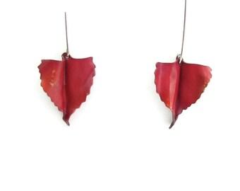 Copper Leaf Earrings - Cottonwood Earrings - Cottonwood Leaf - Modern Leaf Earrings - Nature Leaf Earrings - Nature Lover Earrings