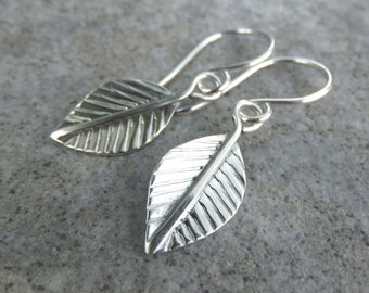 Sterling Silver Dangly Leaf Earrings - LEAVES - Handmade Metalwork Soldered Hand Stamped Textured Jewelry