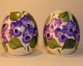 Purple Pansy ceramic egg shape shakers, hand painted