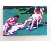 Men resting - Tiny canvas print -memory -retro - summer -grass -sky -CANVAS ART PRINT -wall hanging