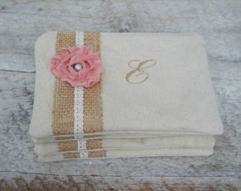 Set of 4 - Rustic Wedding Personalized Bridesmaid Clutch - Burlap and Lace - Vintage Florals - Monogrammed