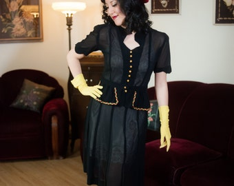 Vintage 1940s Suit - Fantastic Sheer Black Mesh Two Piece 40s War Era Skirt and Short Sleeved Top with Primary Color Trim