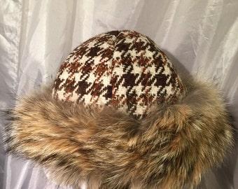 Beautiful Mongolian, Russian, Norse coyote fur hat hand woven wool top