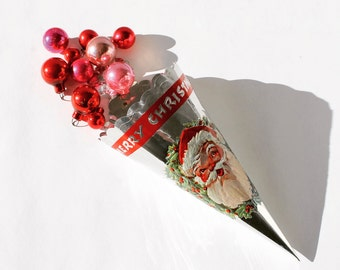 Pair of Vintage Foil Christmas Candy Horns, Santa Claus, Merry Christmas