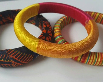 African jewelry, African bracelet, Spring jewelry, Wood jewelry, African fabric bracelet, Fabric jewelry, Wood bracelet, Wooden jewelry