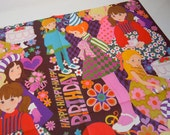 Vintage 1970s Little Girls Birthday Wrapping Paper | Purple Gift Wrap | Birthday Cake Wrapping Paper