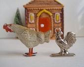 Vintage Dollhouse Miniatures Metal Chicken Rooster Figurines Farm Animals Birds