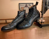 Antique Victorian Mens Ankle Boots Button Shoes Black Leather Boots Gothic Boots Steampunk Boots