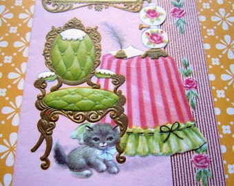 Vintage UNUSED Pink Greeting Card Gold Accents Green Armchair and Gray Kitten