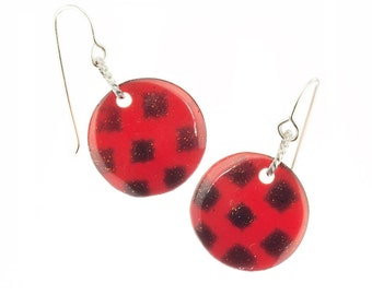 Red Ladybug Earrings, Lady Bug Dangle Earrings,  Red Polka Dot Earrings