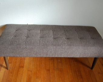 Mid Century Modern Inspired, Bench, Gray, Tufted, Eames, Knoll, Herman Miller