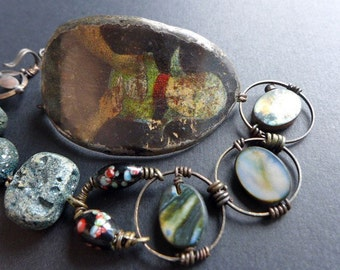 Plight Your Troth.  Vintage tin bracelet with art beads. Rustic jewelry.