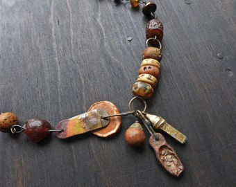 Ramble. Thick chunky necklace in warm tones. Rustic mixed media jewelry.