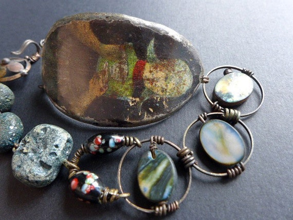 Plight Your Troth. Dutch girl braceletrustic assemblage with tin and art beads.