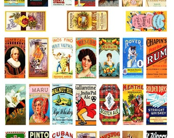 vintage food labels 1 x 2 INCH digital download domino collage sheet graphics images clip art printable sheets