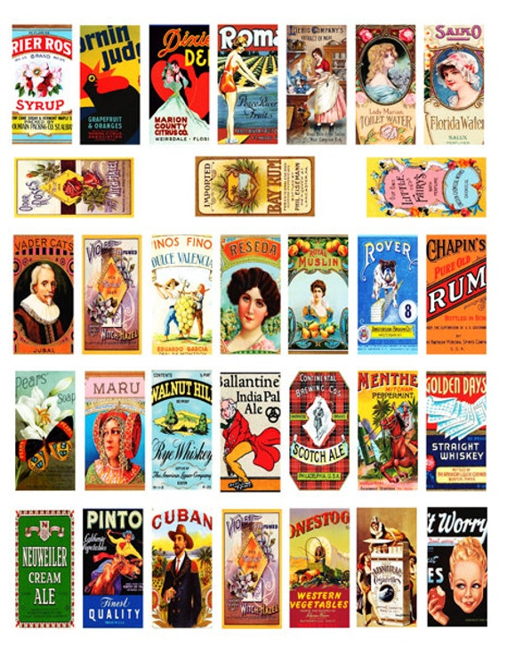 vintage food labels 1 x 2 INCH digital download domino collage sheet graphics images clip art printable sheets