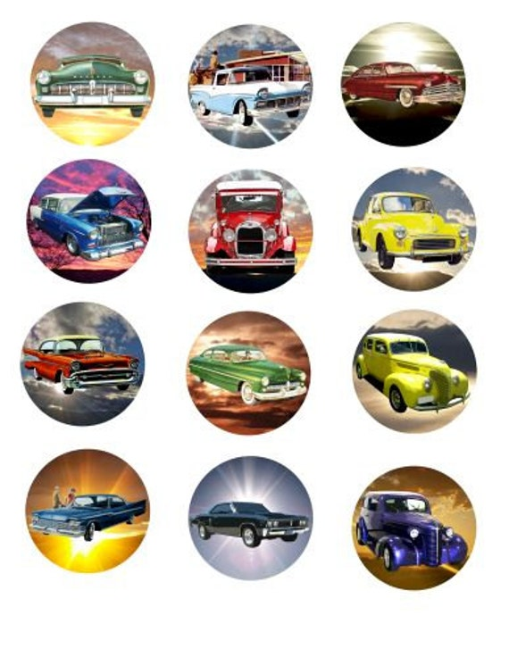 classic cars sunsets clip art digital download clipart collage sheet graphics 2 inch circles printable scrapbooking vintage car images