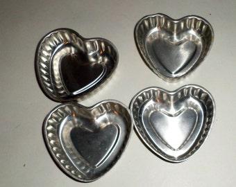 Aluminum Heart Molds - Small Heart Molds - Vintage Tart Molds - Ridged Edges - Little Heart Molds - Valentine's Day Tart Molds - Small molds