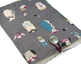 Classy ipad mini padded sleeve / ipad mini case / ipad mini cover / ereader case / tablet cover / gray owls animal geek fabric cloth pouch
