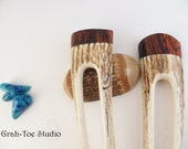 Antler Hair Forks Pair, Antler Hairforks LONG ,Grahtoe Studio, Hairfork, Hair fork Antler, Cocobolo Wood,Mothers Day,Antler hairstick
