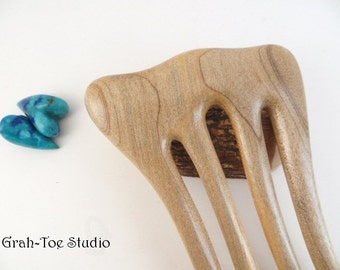 Hair Fork Joy Wood,4 Prong Mezzo Threnody, Hairfork, Wood Hair Fork, Hair Stick, Grahtoe Studio, Handmade Art,Woman Gift