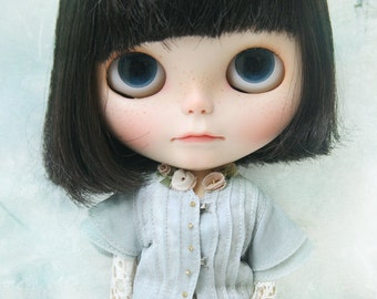 jiajiadoll water blue flower shirts for Momoko or Misaki or Blythe or Middie Blythe or ob27 ob23