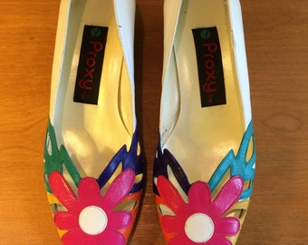 Vintage 80s Proxy Multi Colored Flower Toe Cut Out Mini Heel Shoes