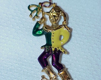 "Vintage---Court Jester--Brooch--Pin--2-1/2"" High--Unsigned--Colorful"