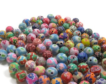 10mm Round Polymer Clay Beads Assorted Variety 100 pieces (D)