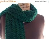 Winter Clearance Crochet lacy scarf, winter scarf, Green wool