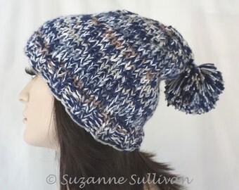 Woman's Beanie with PomPom, Blue Tan White Pompom Beanie, Winter Hat with Pompom, Extra Warm Adult Beanie, Woman's Beanie